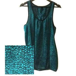 Everly Teal and Black Razor Back Tank Top
